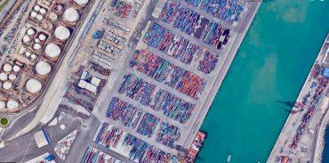Vista aérea de los contenedores